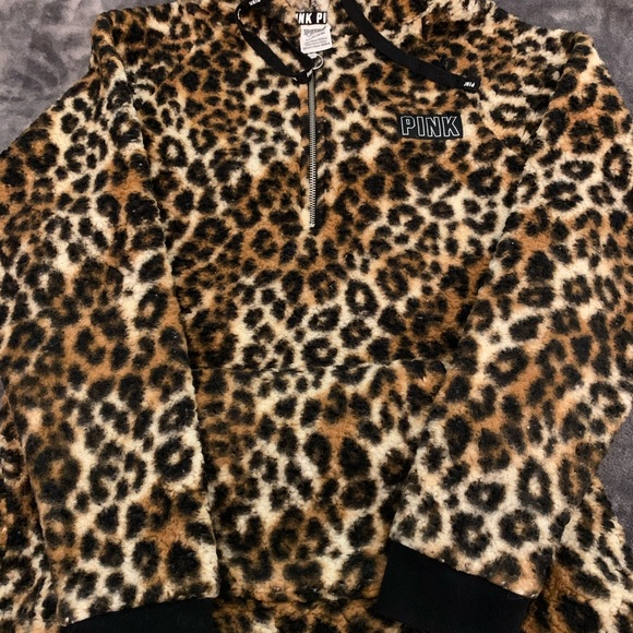 PINK Victoria's Secret Sweaters - PINK Cheetah Print Sherpa Zip Up